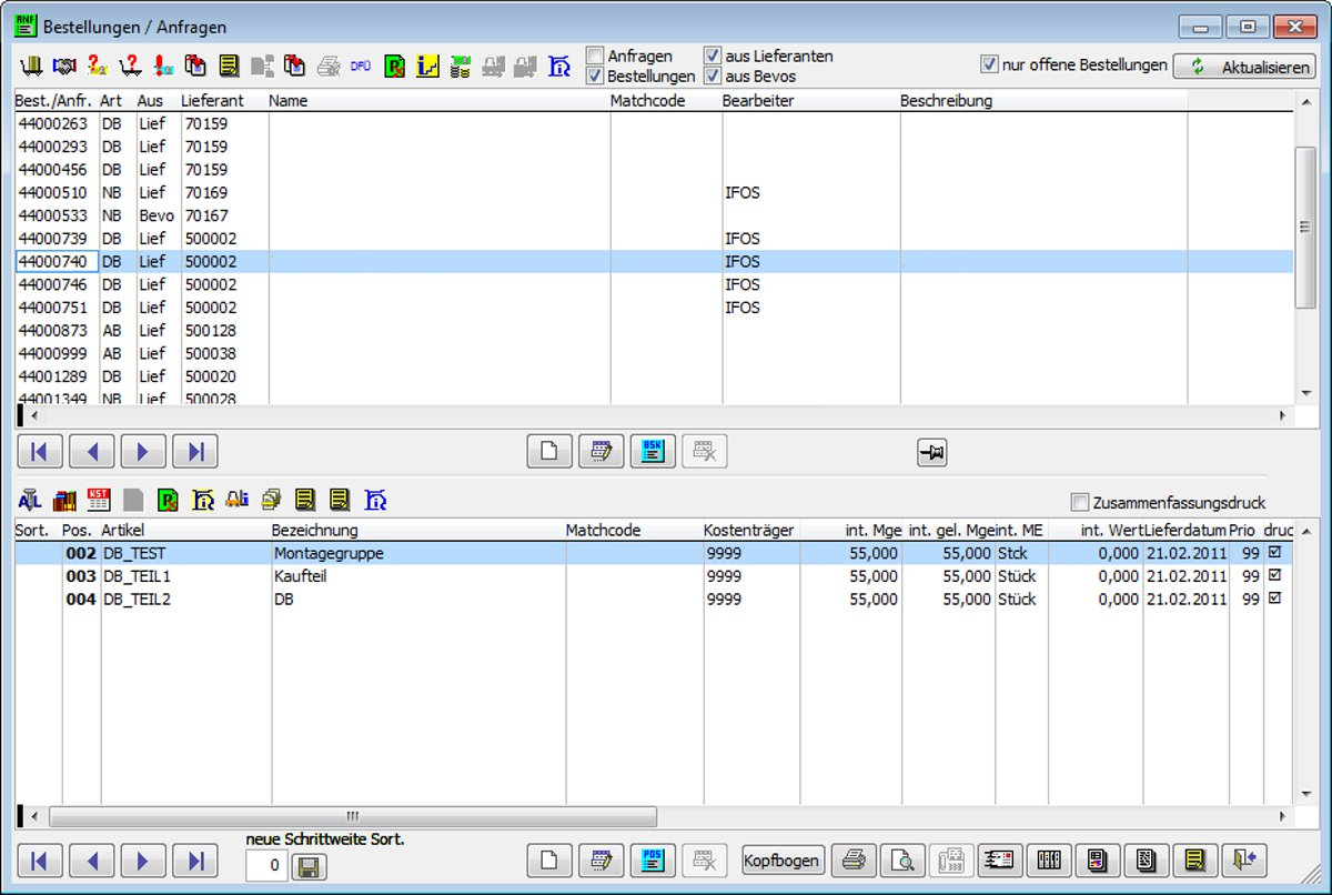 Purchase order overview - Purchase order overview with head and position data