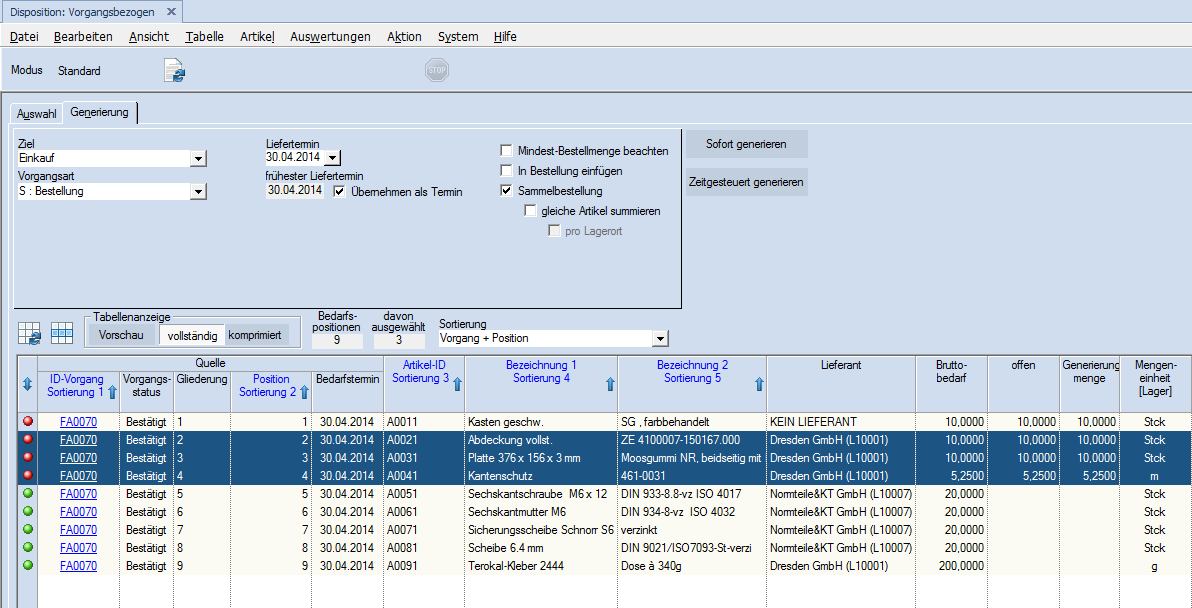 ERP Warenwirtschaftssoftware DELECO ERP - Screenshot - Materialdisposition